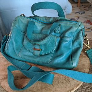 Teal fossil purse